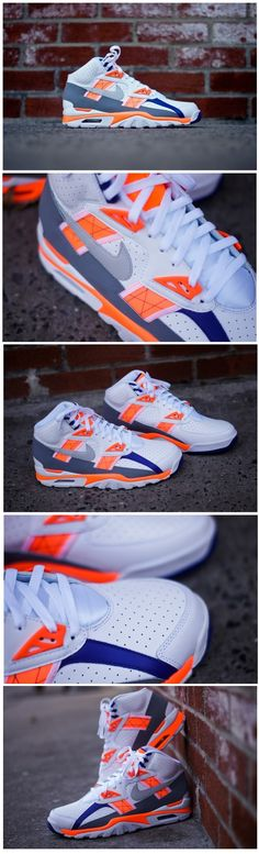 "My fav sneaker of all time. Nike's classic Air Trainer SC is brought back in the classic ""Auburn"" make up. Bo Jackson's iconic sneaker is re-designed with a mostly white upper offset with hits of purple and orange. Nike Free Shoes, Nike Shoes Outlet, Hypebeast, Streetwear, Mo S, Baskets, Auburn, Swagg, Running Shoes"