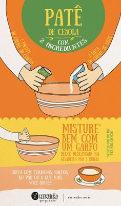 receita infográfico de patê de cebola Love Eat, Love Food, Sauce Creme, No Salt Recipes, Calories, Food Illustrations, Creative Food, Chutney, No Cook Meals