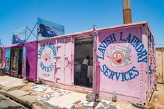 Laundry services in a portacabin in Soweto (South Western Township), Johannesburg, South Africa Container Conversions, Xhosa, Shopping Malls, Amazing Spaces, Shipping Container Homes, Shop Signs, Your Story, South Africa, Landscapes