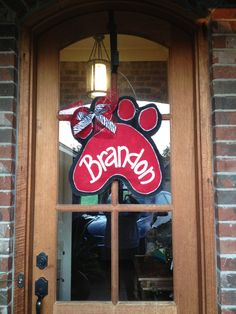 Burlap Paw Print Door Hanger by MellieShea on Etsy, $35.00