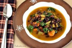 Dr. Furhman's Black Bean Quinoa Soup is a hearty meal full of nutritious ingredients to keep you warm, full, and healthy   Bakerette.com