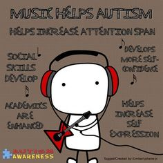 Music helps autism. That's why music is constantly on in our house. The girls would rather listen to music than watch TV/or Movies.