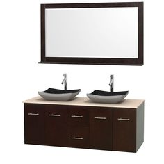 """Wyndham Collection Centra Espresso 60-inch Double Ivory Marble Bathroom Vanity with Mirror (60"""" Espresso,IvMarble Top,Avalon Car Sinks,58"""" Mir), Brown, Size Double Vanities"""