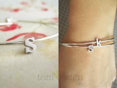 SALE Tiny Silver Lowercase Initial Bangle Bracelet by TomDesign, $10.50 {{with my kids initials}}