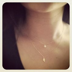 Tiny Initial and Leaf  Charm layered Necklace  by cocowagner, $30.90