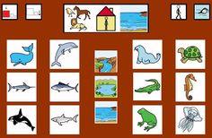 MATERIALES - Tableros de Comunicación de 12 casillas.    Tablero de comunicación de doce casillas sobre animales acuáticos.    http://arasaac.org/materiales.php?id_material=224