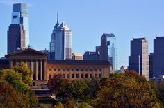 Philly's tallest buildings, towering over the Philadelphia Museum of Art.