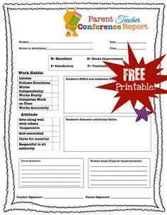 Parent Teacher Conference Printables | Parent Teacher Conference Forms Free Printables | Living Laughing ...