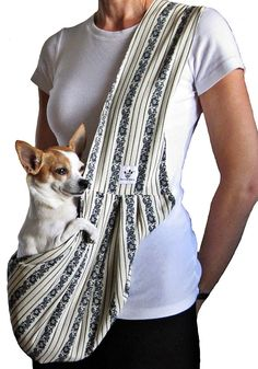 Dog Sling  Black and Cream by Paws4PeaceLLC on Etsy, $64.99