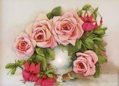 Купить Картина лентами Букет с фуксией и розами 30 х 40 см - фуксия