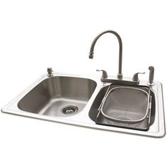 American Standard 20-Gauge Double-Basin Drop-in Stainless Steel Kitchen Sink with Faucet