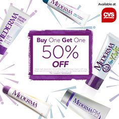 Don't miss out on an amazing Buy One, Get One 50% offer at CVS: Mederma® Advanced Scar Gel 20g, Mederma® Scar Cream + SPF 30, Mederma® PM Intensive Overnight Scar Cream 1oz, Mederma® for Kids™.