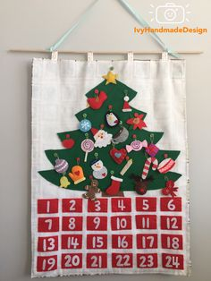 Excited to share the latest addition to my shop: Christmas Tree advent calendar felt with Ornaments/ Christmas Tree Decoration/countdown/ Roll Up Play Mat/ Quiet Time Mat/ Personalized Gift Days To Christmas, Etsy Christmas, Christmas Items, Christmas Crafts, Fabric Advent Calendar, Christmas Tree Advent Calendar, Advent Calendars, Christmas Tree Decorations, Christmas Tree Ornaments