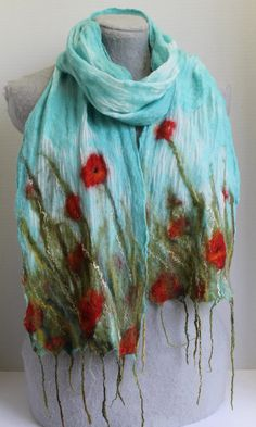 Nuno Felted Scarf Poppy Field OOAK by mgotovac on Etsy