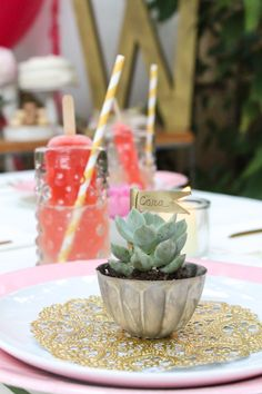 Use mini succulents as simple #diy place cards! #letscelebrate #marthacelebrations