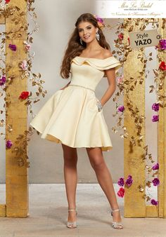 Shop Morilee's Satin Party Dress with Neckline Flounce and Crystal Beaded Waistband. Satin Party Dress Featuring a Flounced, Off the Shoulder Neckline and a Delicate Crystal Beaded Waistband. Shown with Valencia, Style Dama Dresses, Hoco Dresses, Quinceanera Dresses, Dresses For Teens, Homecoming Dresses, Bridal Dresses, Formal Dresses, Evening Dresses, Wedding Dress