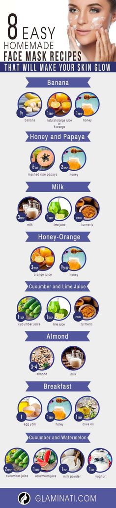 Easy Homemade Face Mask Recipes to Make Your Skin Glow ★ See more: http://glaminati.com/easy-homemade-face-mask/