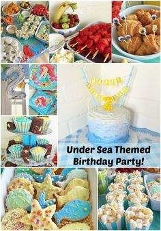 An Under Sea themed birthday party at the beach! Ombre birthday cake, brownies and cupcakes. Fish shaped biscuits, crab croissants and dolphin bananas!