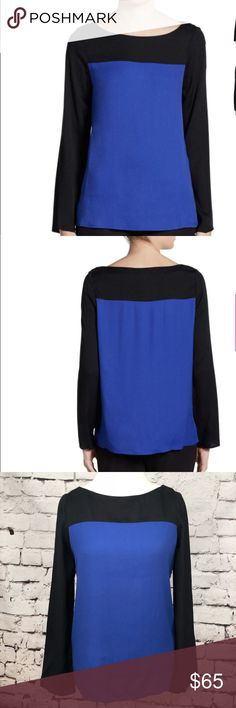 """Joie Aliso Color Block Top In Nile Blue & Caviar This chic color contrasting blouse features a slight trapeze shape, a bateau neckline, and bracelet length sleeves. Gorgeous black and bright blue color block styling. 100% rayon. Armpit to armpit is approx 19"""" and length is approx 25"""". Joie Tops Blouses"""