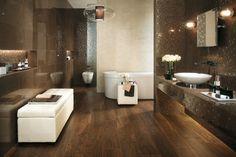 Luxury bathroom design beige brown mosaic tile mirror effects - Home Page Luxury Master Bathrooms, Bathroom Design Luxury, Large Bathrooms, Dream Bathrooms, Amazing Bathrooms, Bathtub Dream, Master Baths, Best Bathroom Flooring, Wood Bathroom