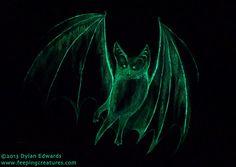 GlowintheDark Green Ghost Bat Painting by feepingcreatures