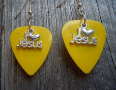 I Heart Jesus Charm Guitar Pick Earrings Pick Your by ItsYourPick