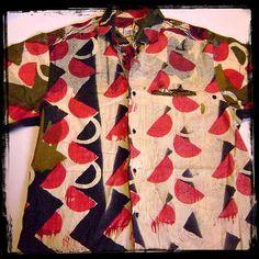 vintage african block print fabric shirt by flyjunkieshop on Etsy, $72.00