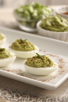 Snack healthier with guacamole deviled eggs that swaps out classic mayonnaise with Wholly Guacamole® in our deviled egg recipe with a twist. Guacamole Deviled Eggs, Deviled Eggs Recipe, Guacamole Recipe, Guacamole Dip, Tapas, Wholly Guacamole, Egg Ingredients, Low Carb Recipes, Ketogenic Recipes