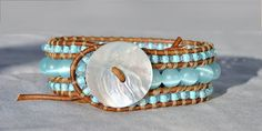 Soft Pastel Aqua Leather Cuff, Triple Layer Cuff, Pearl Button, Cat's Eye Beads, Coastal Bracelet - by SeaSide Strands