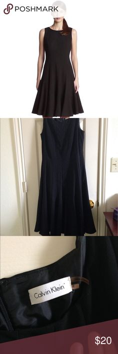 Calvin Klein Sleeveless Dress Never worn Calvin Klein Sleeveless Solid Fit-and-Flare Dress. This is a classy sleeveless dress in a fit-and-flare silhouette featuring a pleated skirt and bodice that is fully lined. Made of polyester, rayon and spandex. Calvin Klein Dresses
