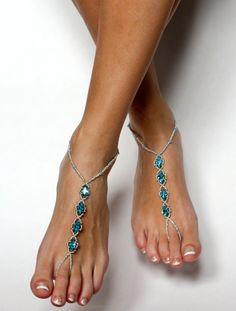 New to BareSandals on Etsy: Something Blue Rhinestone Barefoot Sandals Foot Jewelry Bridal Sandals Beach Wedding Aqua Anklet Wedding Sandals Foot Thong Bridal Jewelry (46.00 USD)