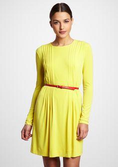 Calvin Klein  Citron Pleated Bodice Jersey Dress