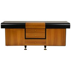 Pierre Cardin Sideboard Buffet Dresser Black and Wood Brass Detail 1980s, 1990s