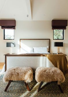 love the sheepskin texture introduced in an otherwise texture neutral space // via Apartment 34 Master Bedroom Design, Dream Bedroom, Bedroom Closet Storage, Interior And Exterior, Interior Design, Bedroom Colors, Living Spaces, Living Rooms, House Design