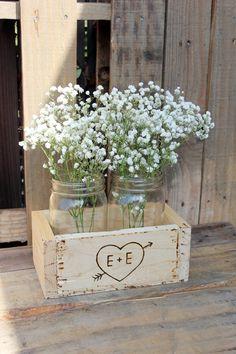 rustic personalized planter box w/quartz size mason jars. wedding guest box . rustic wedding gift by MontanaSnow