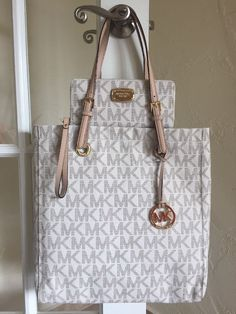 24a814ae6abd ... Drawstring Large Convertible Shoulder Bag Brown Signature eBay Michael  Kors Handbags Pinterest Michael Michael Kors Mk Signature Jet Set North  South ...