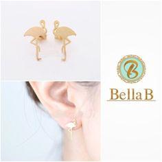 Flamingo earrings Brand newBeautiful small flamingo stud earringsAvailable in 14K gold filled or rose gold Bella B Jewelry Earrings