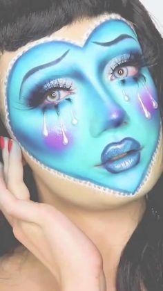 Face Paint Makeup, Eye Makeup Art, Clown Makeup, Sfx Makeup, Edgy Makeup, Crazy Makeup, Valentine Makeup, Maquillage On Fleek, Creative Makeup Looks