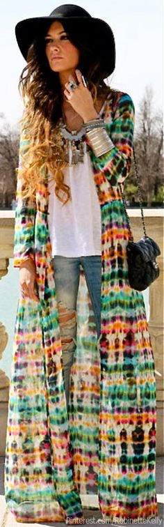 Bohemian Street Style- hijab friendly over coat! For if I EVER get to someday go to a music festival!