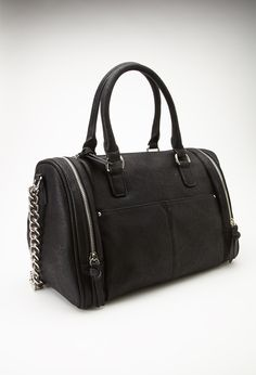 Zippered Faux Leather Satchel | FOREVER21 - 1000055799