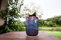 Purple and Blue Handmade Pottery Flower Vase Custom by TurtleRok