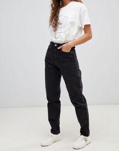 d1b47eb6e1686 Weekday High Waist Rigid Mom Jean Faded Black Jeans, Ripped Mom Jeans, Rip  Mom