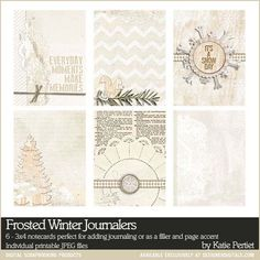 Frosted Winter Printable 3x4 Journal Cards perfect for Project Life - Digital Scrapbooking Elements DesignerDigitals