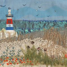Applique seascape by Tigley textiles : Layered fabrics with embroidery Freehand Machine Embroidery, Free Motion Embroidery, Embroidery Applique, Hand Embroidery Art, Applique Fabric, Embroidery Ideas, Embroidery Stitches, Deco Marine, Landscape Art Quilts