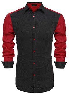 85ec0c3bd874 Coofandy Men's Turn Down Collar Long Sleeve Patchwork Contrast Color Dot  Shirts (Small, Dark Blue)