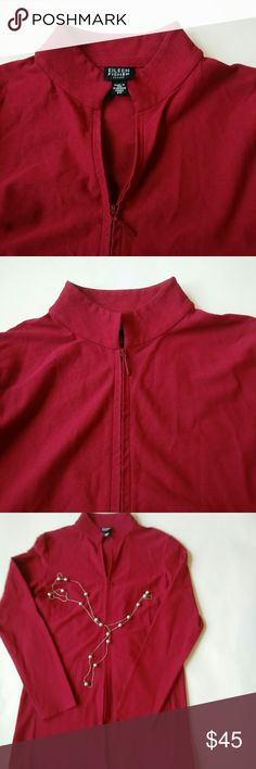 Eileen fisher PP jacket Activewear with pocket Maroon close collar jacket for spring and summer and has two pocket .the size on jacket says PP which is petite P. I have added the measurements chart. Please check that before buying and Eileen fisher petite has its own size chart. I also added length n armpit measurements for reference. Thank you. Eileen Fisher Jackets & Coats
