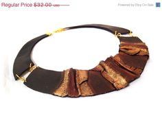 50 OFF SALE Bib leather necklace Leather jewelry by julishland, $16.00