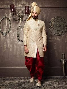 Off White Silk Embroidered Indo Western Sherwani