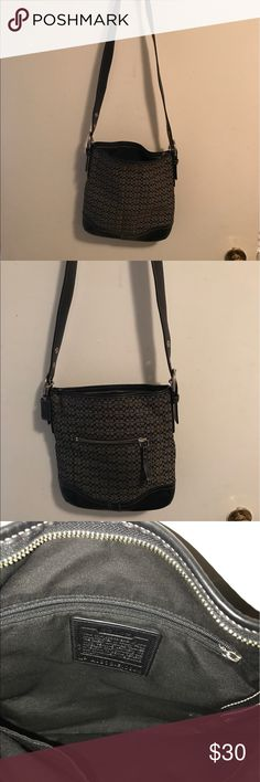 Coach purse and wristlet Signature coach with matching wristlet cross body but strap can be doubled for shoulder carrying Coach Bags Crossbody Bags