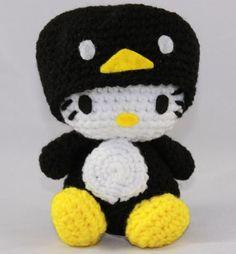 Hello Kitty Doll  Hello Kitty Black Penguin Crocheted by hookmiup, $30.00